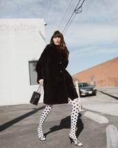 coat,teddy bear coat,black coat,tights,black sandals,bucket bag,black bag
