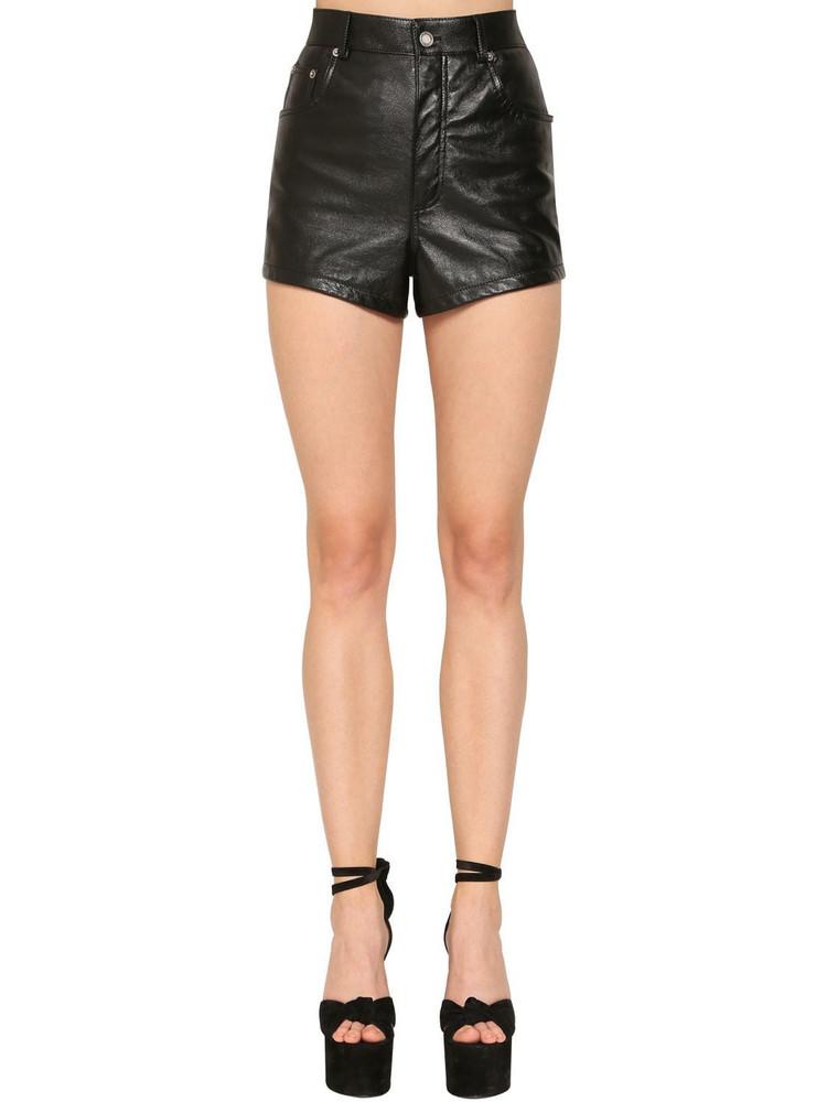 SAINT LAURENT High Waist Leather Shorts in black