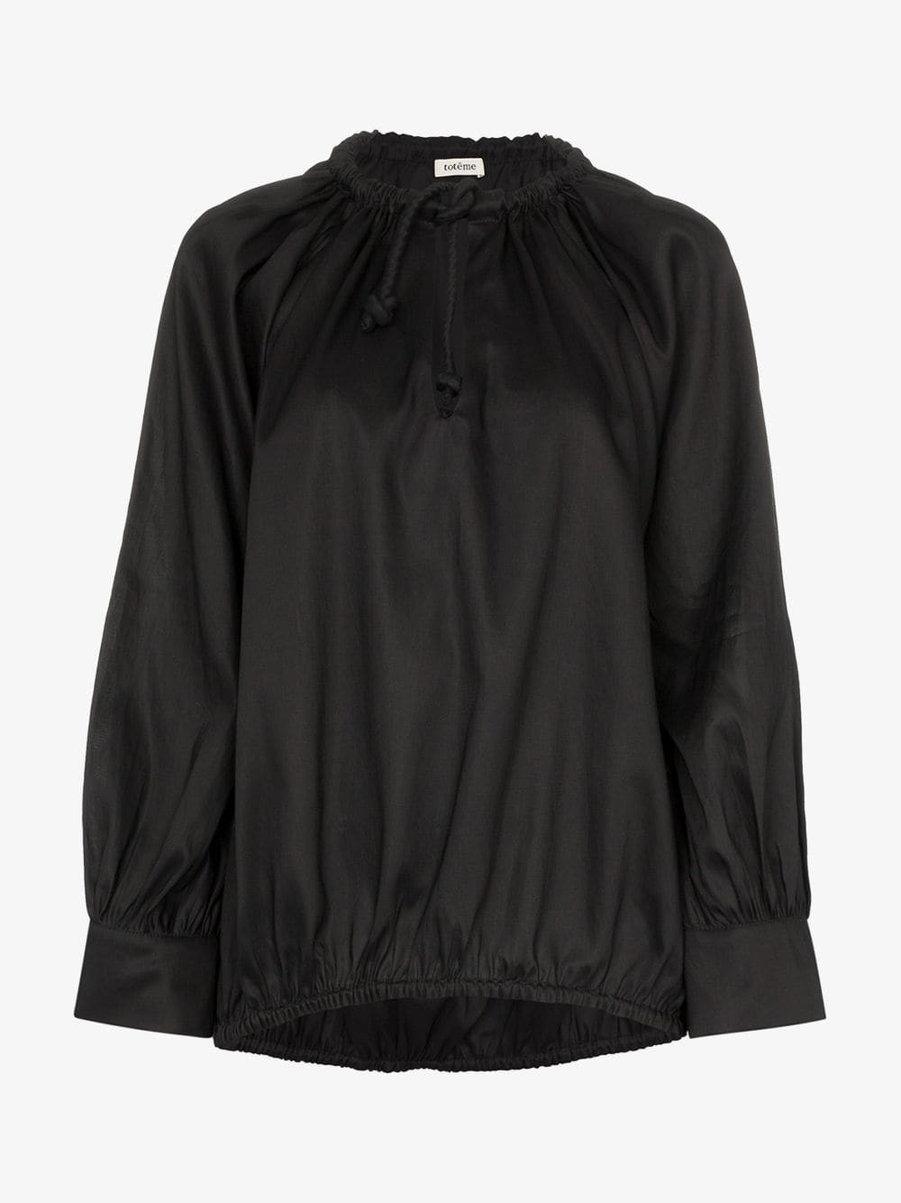 Toteme tie neck ruched satin top in black