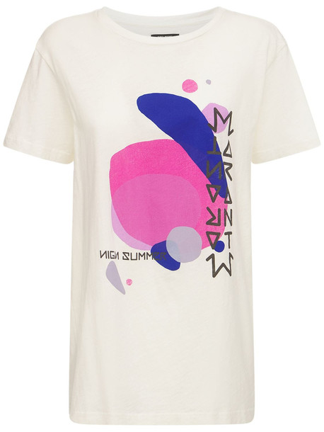 ISABEL MARANT Zaffer Printed Cotton Jersey T-shirt in white / multi