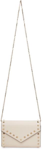 Valentino Garavani Off-White Rockstud Wallet Chain Shoulder Bag in ivory
