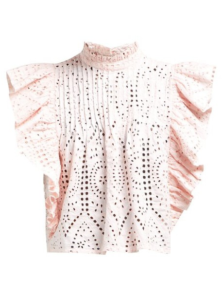 Ganni - Sandrose Broderie Anglaise Cotton Blouse - Womens - Light Pink
