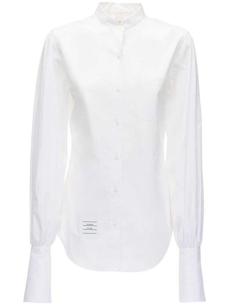 THOM BROWNE Cotton Poplin Shirt W/ Gathered Sleeves in white