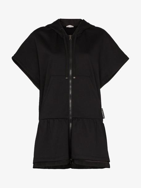 Moncler Long Hooded Zipped Jersey Sweatshirt in black