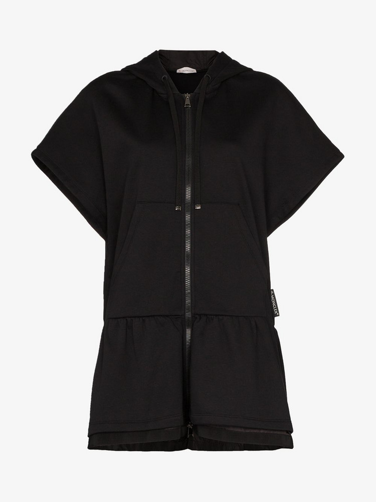 Moncler Long Hooded Zipped Jersey Sweatshirt in black
