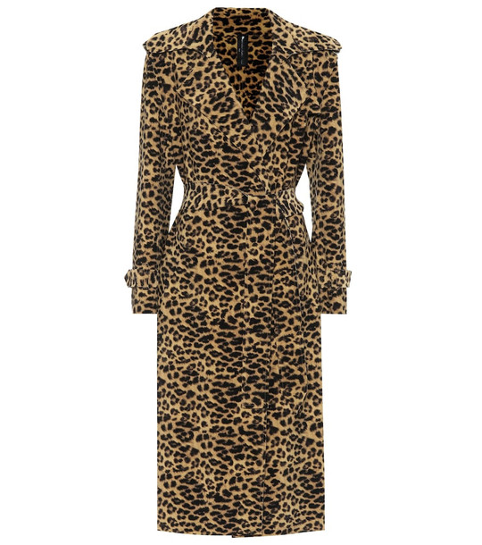 Norma Kamali Leopard-print trench coat in beige