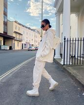 sweater,hoodie,joggers,zara,white boots,chanel bag