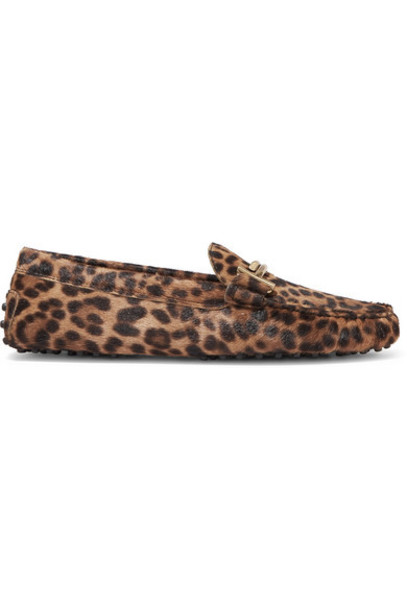 Tod's - Gommino Embellished Leopard-print Calf Hair Loafers - Leopard print