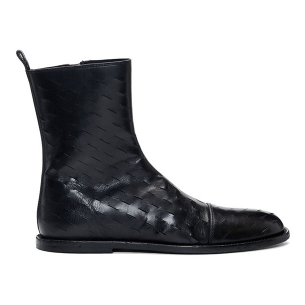 Ann Demeulemeester Black Slits Zip-Up Boots