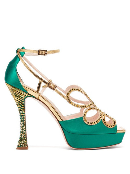 Roger Vivier - Queen Crystal-embellished Leather Platform Sandals - Womens - Green Multi
