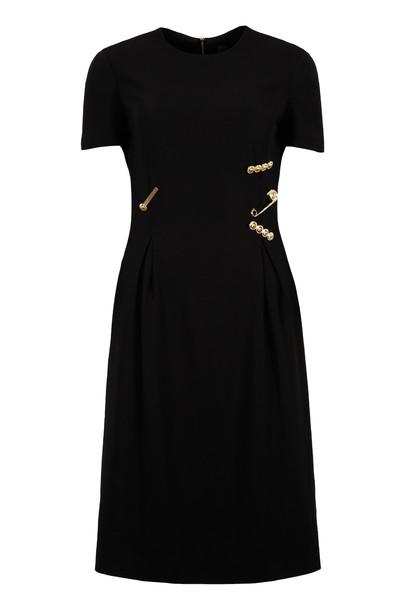 Versace Decorative Safety Pins Sheath Dress in black