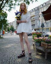 shoes,platform sandals,black sandals,DrMartens,white dress,mini dress,babydoll dress,long sleeve dress