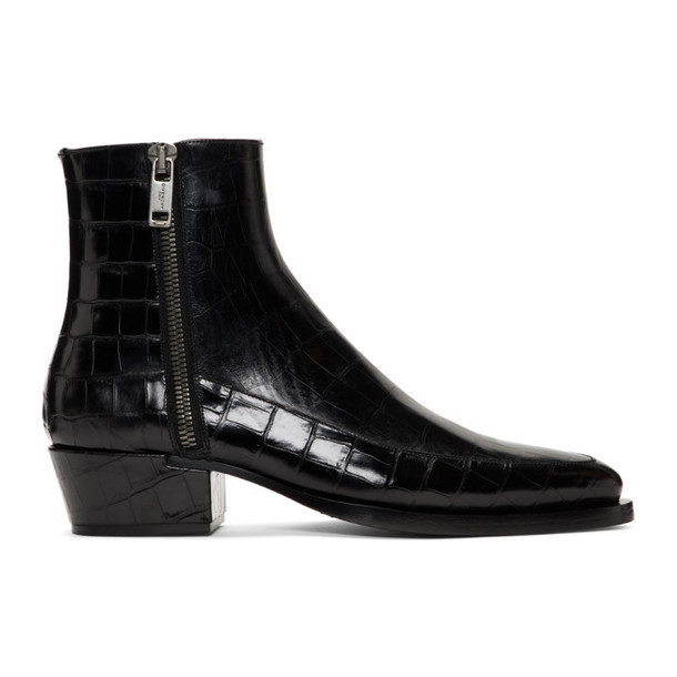 Givenchy Black Croc Dallas Zip Boots