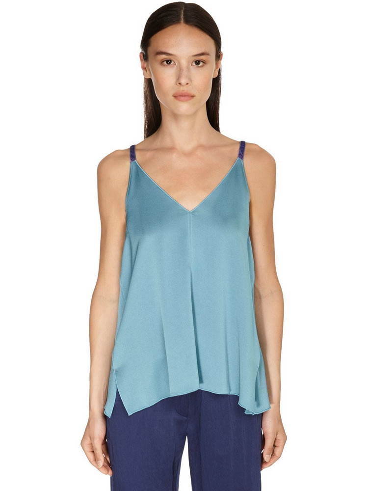 FORTE FORTE Envers Satin Crepe Camisole Top in blue