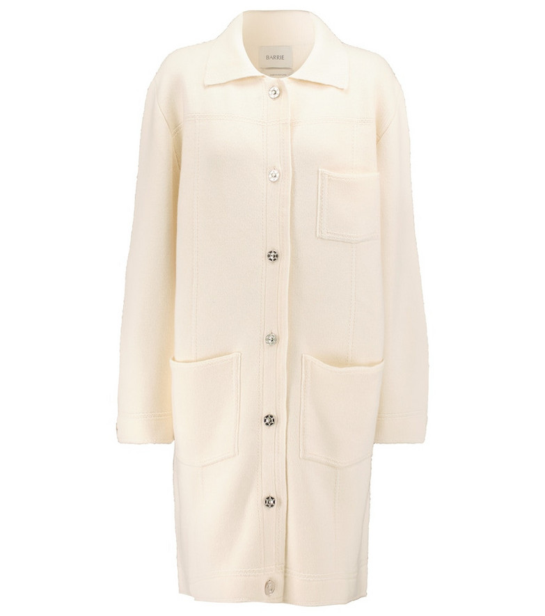 Barrie Cashmere and cotton knit coat in white