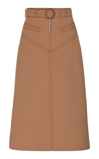 Ellery Matango Belted Twill Midi Skirt Size: 40 in brown