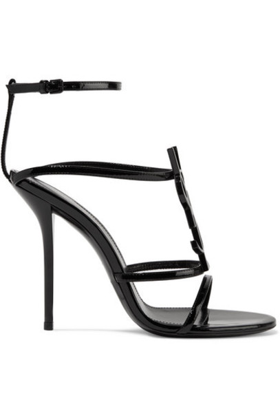 SAINT LAURENT - Cassandra Logo-embellished Patent-leather Sandals - Black