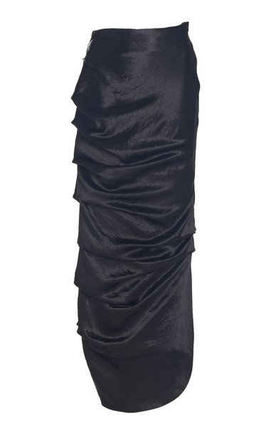 A.W.A.K.E. MODE Draped Satin Maxi Skirt in black