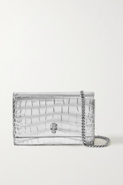 Alexander McQueen - Skull Small Embellished Metallic Croc-effect Leather Shoulder Bag - Silver