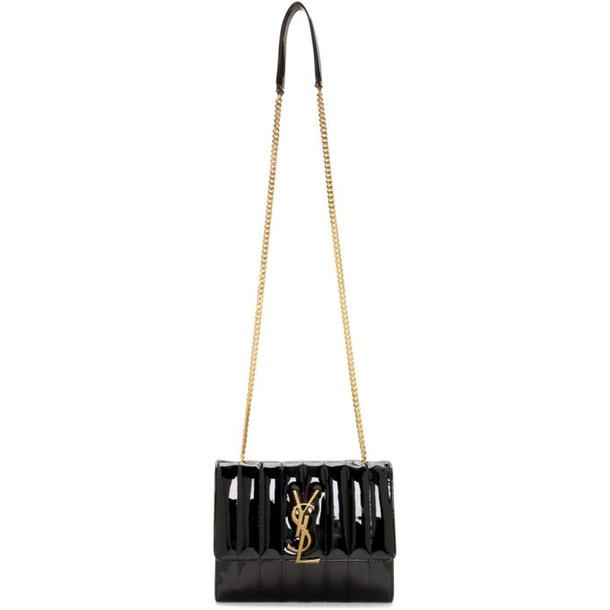 Saint Laurent Black Patent Medium Vicky Bag