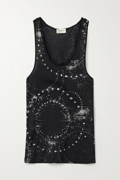 SAINT LAURENT - Glittered Cotton-jersey Tank - Black