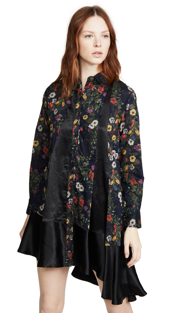 Clu Floral Paneled Shirt Dress in navy