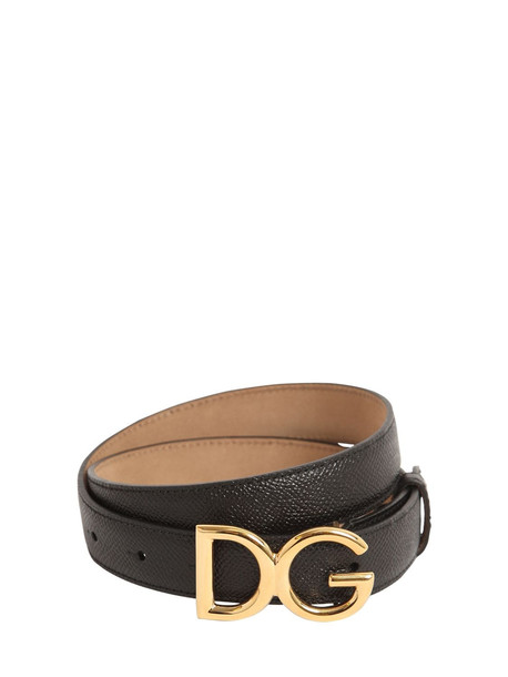 DOLCE & GABBANA 25mm Dg Logo Grained Leather Belt in black