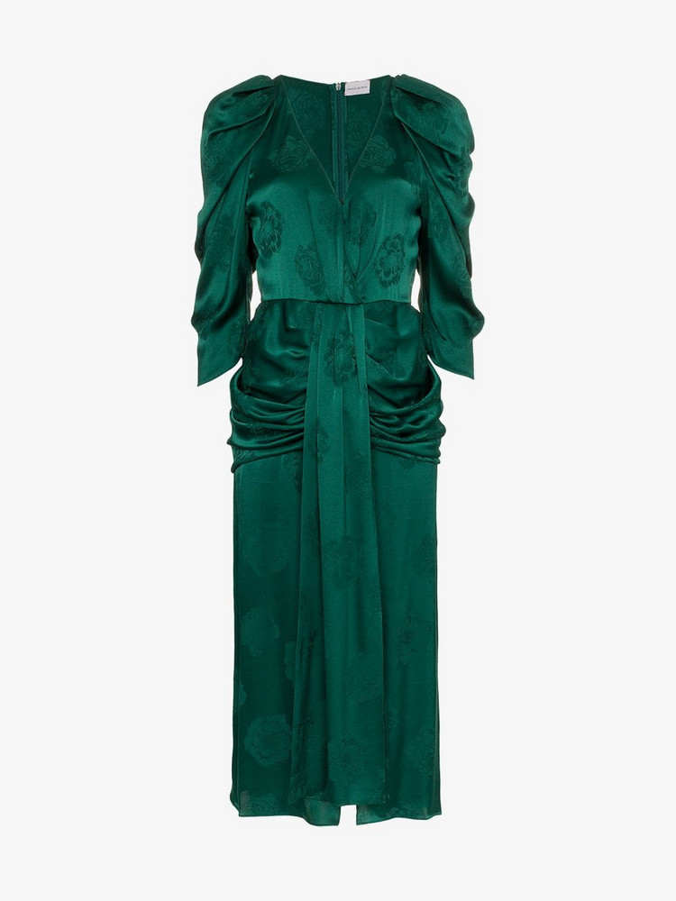 Magda Butrym downey silk jacquard dress in green