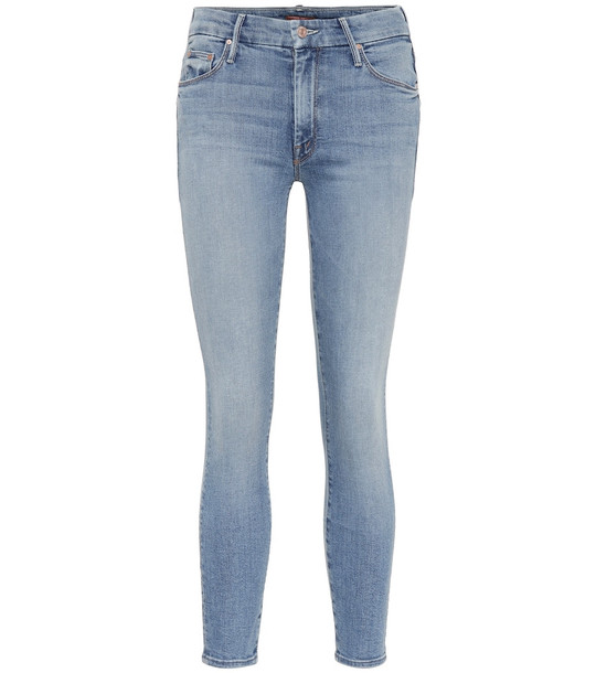 Mother The Looker high-rise skinny jeans in blue