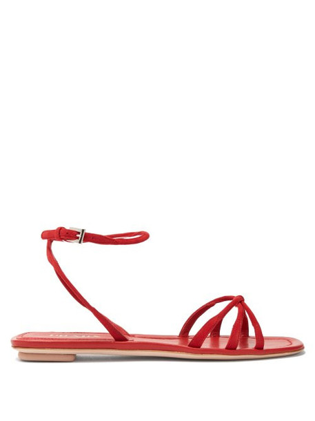 Prada - Knot Front Suede Sandals - Womens - Red
