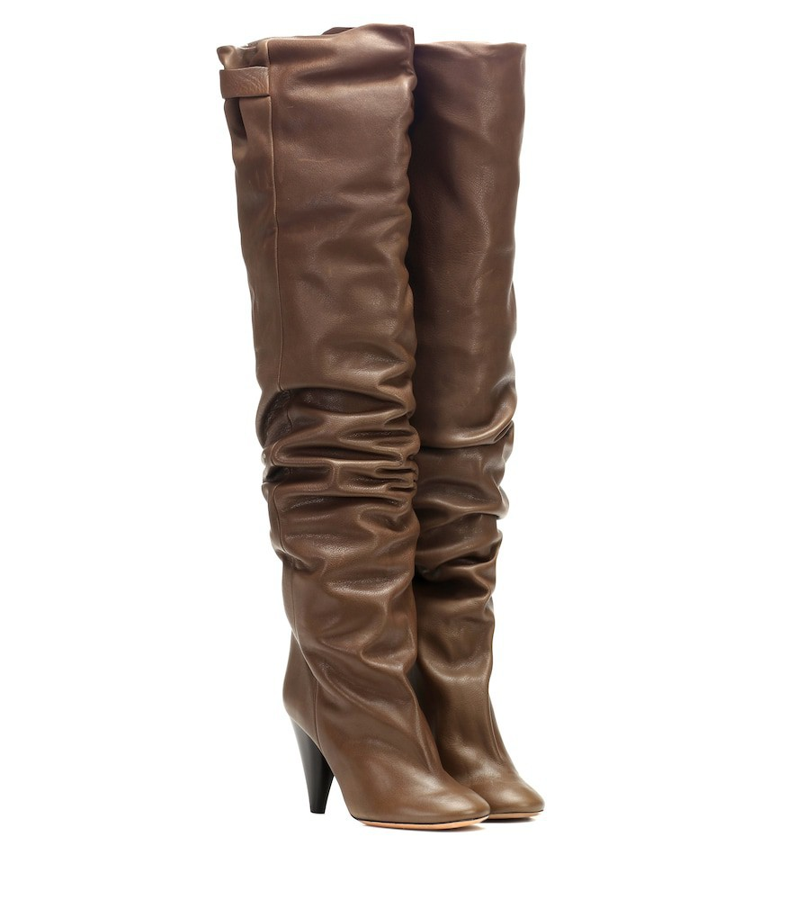 Isabel Marant Likita leather over-the-knee boots in brown