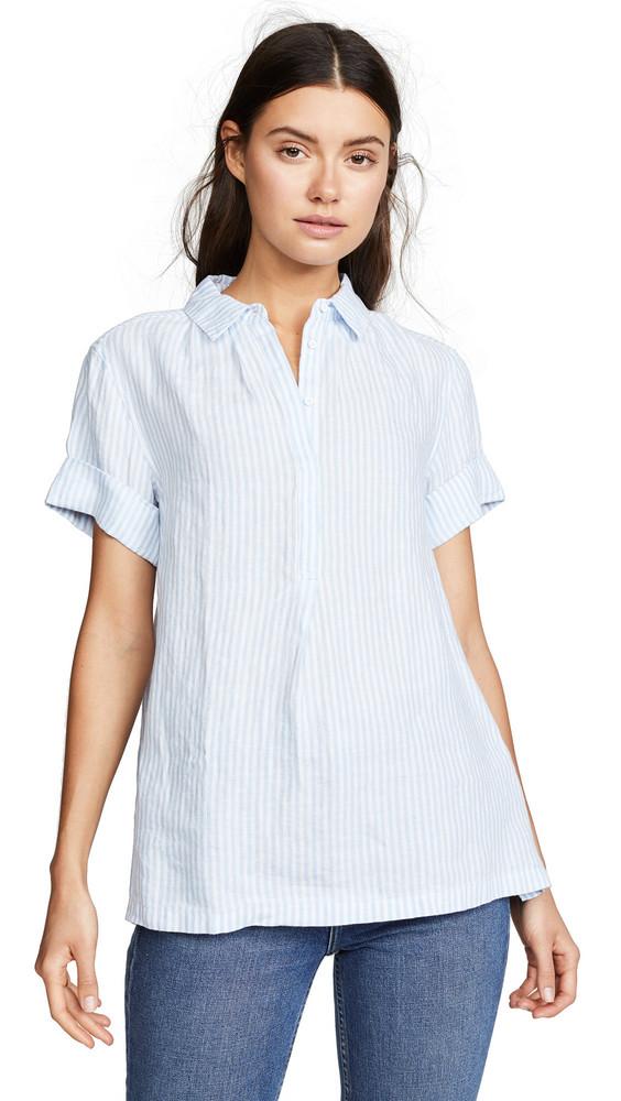 AYR The Burst Linen Shirt in blue / white
