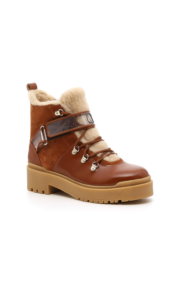 Valentino Valentino Garavani Sherling and Leather Winter Boots in brown