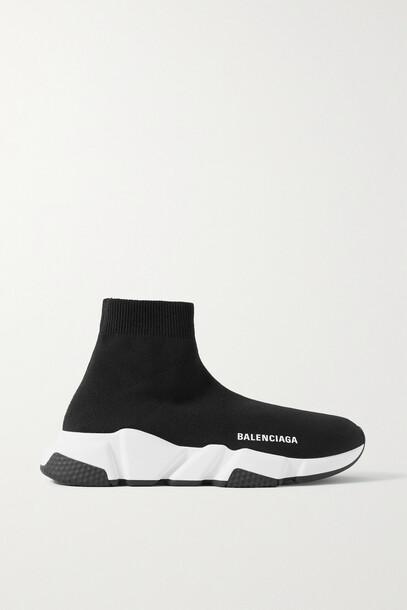 Balenciaga - Speed Lt Logo-print Stretch-knit High-top Sneakers - Black