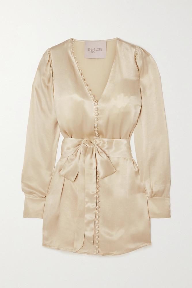 ENVELOPE ENVELOPE1976 - Nice Belted Satin Mini Dress - Cream