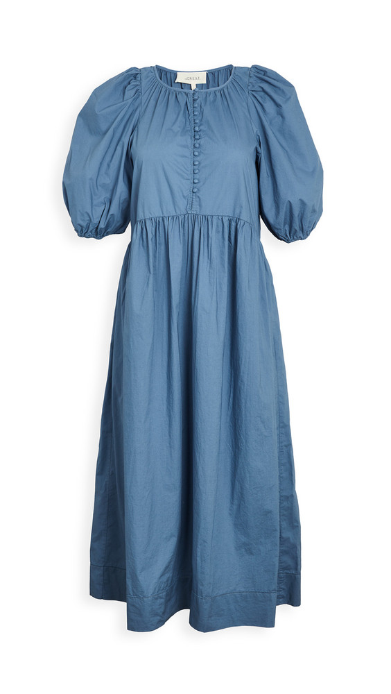 THE GREAT. THE GREAT. The Ravine Dress in blue