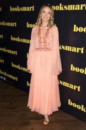 dress,peach,peach dress,olivia wilde,celebrity,plunge dress,plunge neckline