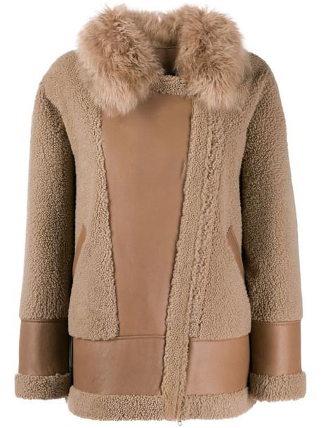 Blancha contrast textured jacket in neutrals
