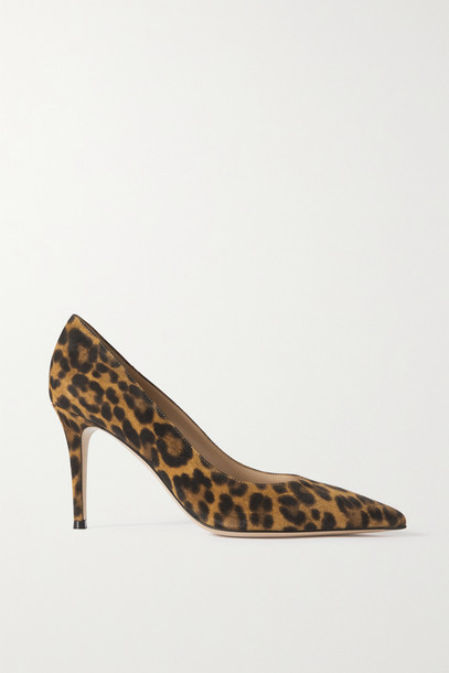 Gianvito Rossi - 85 Leopard-print Suede Pumps - Animal print