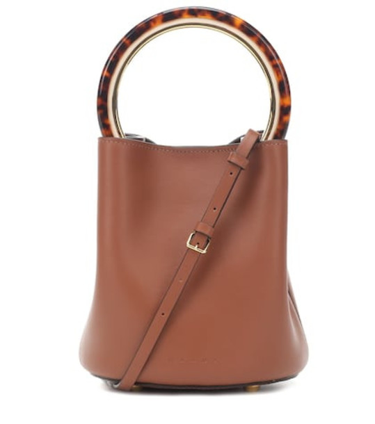 Marni Pannier leather bucket bag in brown
