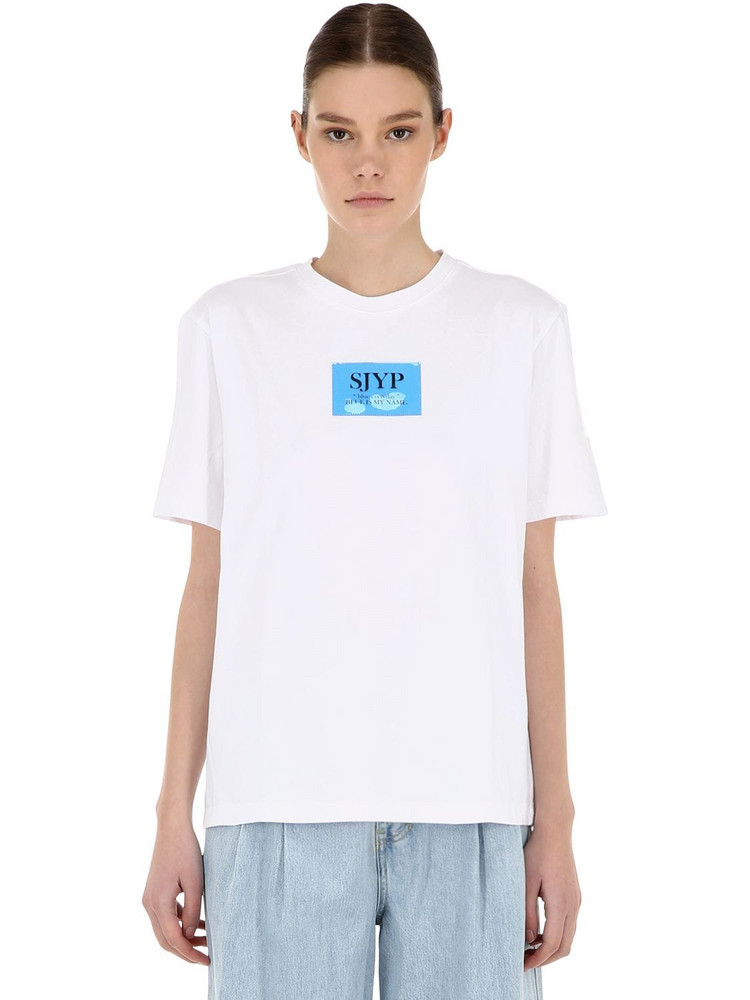 SJYP Plastic Logo Patch Cotton Jersey T-shirt in blue / white