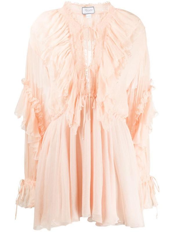 Redemption ruffled design mini dress in neutrals