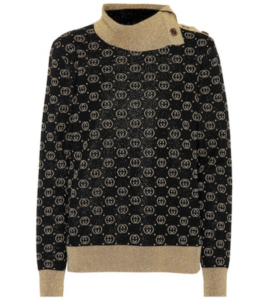 Gucci Metallic wool-blend sweater in black