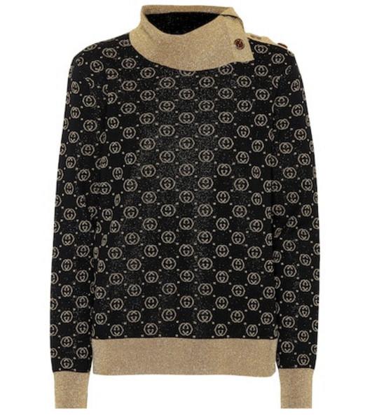 Gucci Metallic wool-blend sweater in black