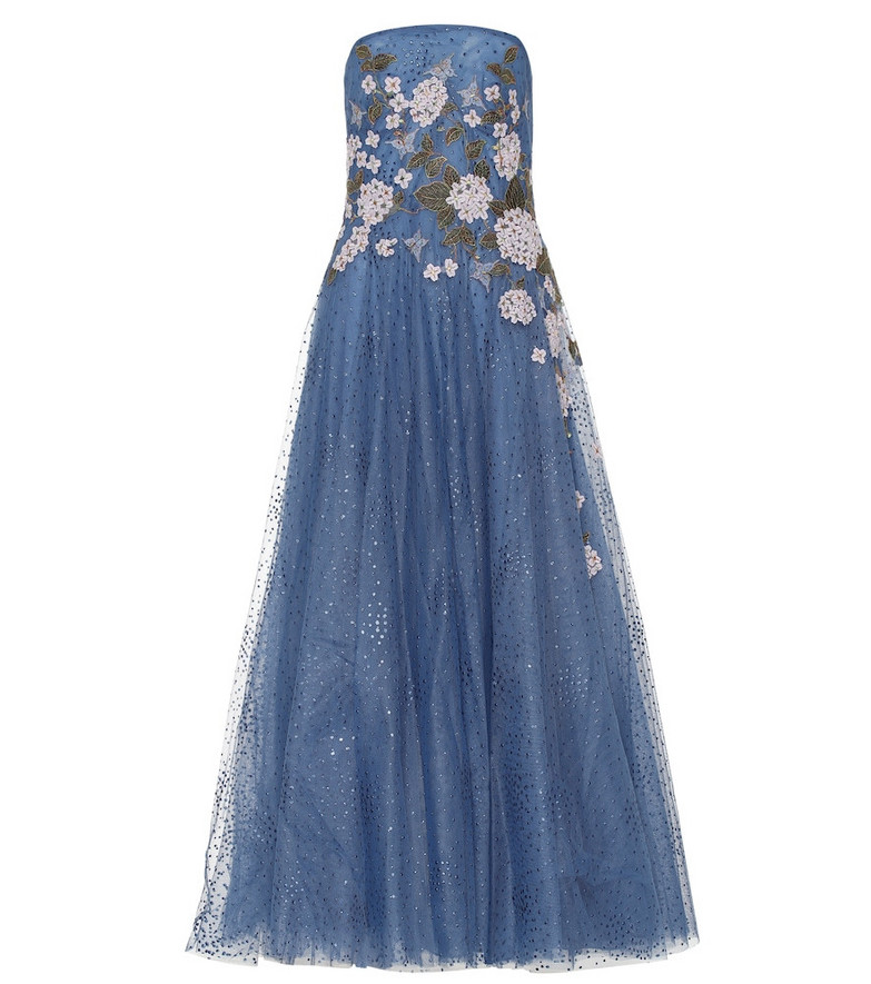 Costarellos Elette embroidered tulle gown in blue