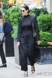 top,see through,see through top,lily aldridge,model off-duty,all black everything,pants