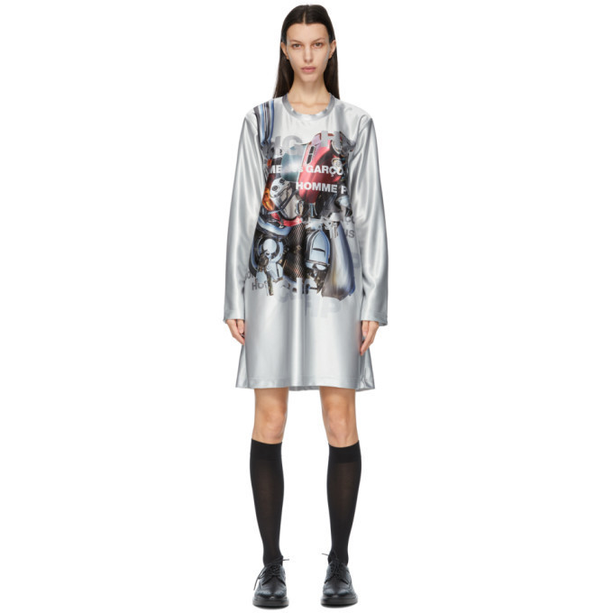 Comme des Garcons Homme Plus Silver Print Dress in grey