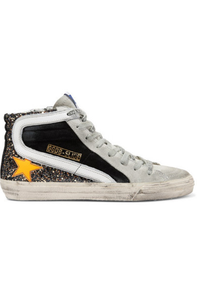 Golden Goose - Slide Distressed Glittered Leather And Suede Sneakers - Black