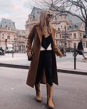 shoes,brown boots,cowboy boots,black skinny jeans,brown coat,long coat,double breasted,knitted sweater,black bag
