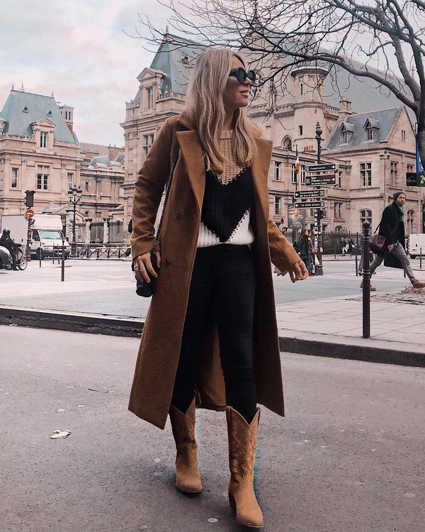 shoes brown boots cowboy boots black skinny jeans brown coat long coat double breasted knitted sweater black bag